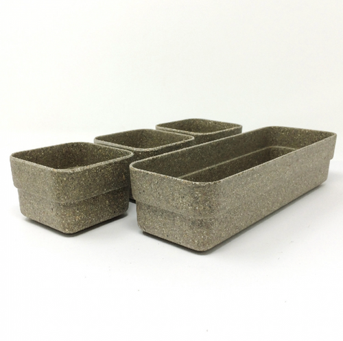 Simple Eco-Planter Herb Pot with Tray Set of 3: Black