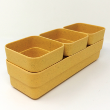 Simple Eco-Planter Herb Pot with Tray Set of 3: Yellow