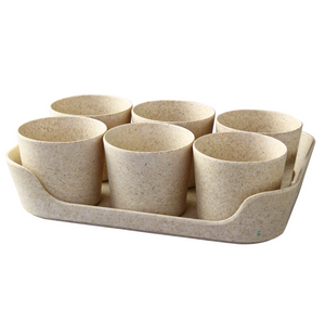 Simple Eco-Planter Herb Pot with Tray Set of 6: Sand Beige