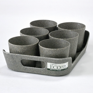 Simple Eco-Planter Herb Pot with Tray Set of 6: Black