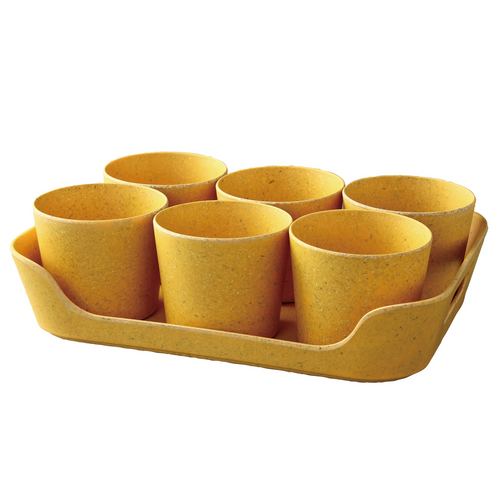 Simple Eco-Planter Herb Pot with Tray Set of 6: Yellow