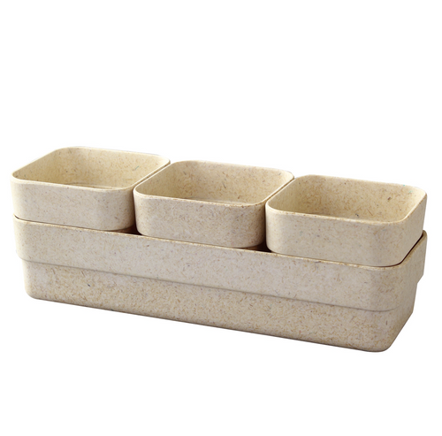 Simple Eco-Planter Herb Pot with Tray Set of 3: Sand Beige