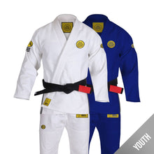 Load image into Gallery viewer, Gracie Humaita Youth Base White and Blue Gi