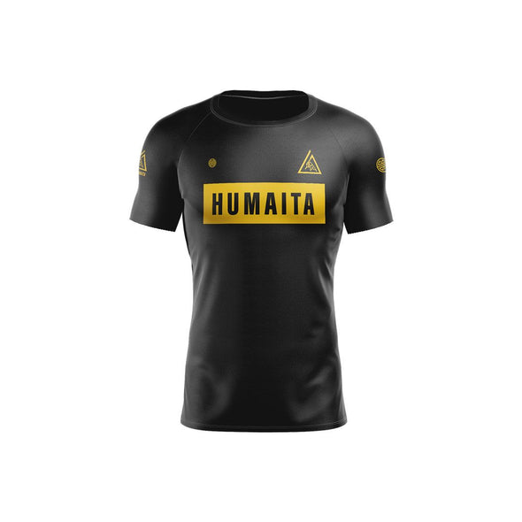 Gracie Humaita 4 Panel Short Sleeve Ranked Rash Guard Black Belt Front View