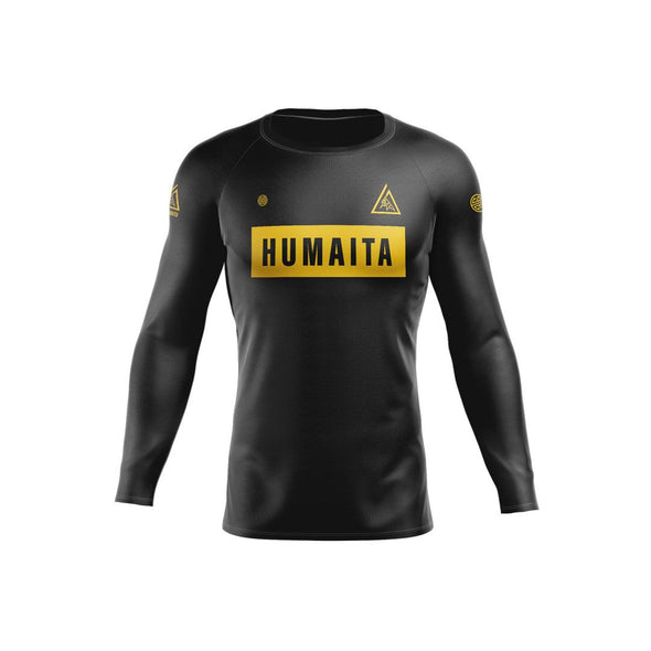 Gracie Humaita Ranked L/S Rash Guard Black Front View
