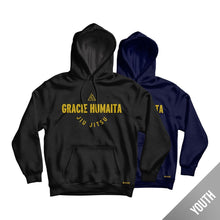 Load image into Gallery viewer, Gracie Humaita College Youth Hoodie Black and Blue