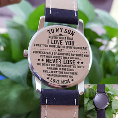 engraved metal wrist watch from Mom to son