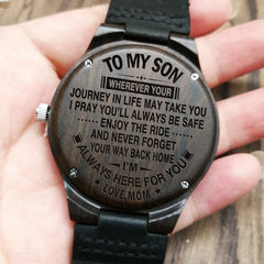 always here for you from mom to son engraved wooden watch