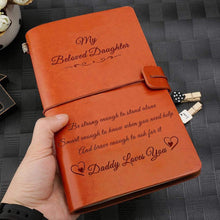 Load image into Gallery viewer, 2019 Dad To Daughter Daddy Loves You Engraved Leather Cover Message Notebook