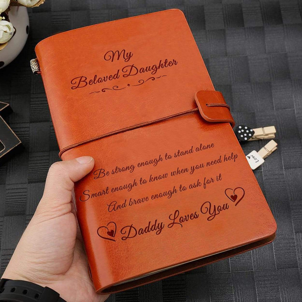 2019 Dad To Daughter Daddy Loves You Engraved Leather Cover Message Notebook