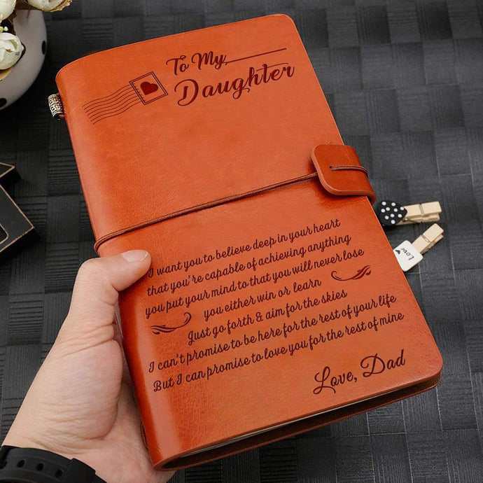 2019 Dad To Daughter Never Lose Engraved Leather Cover Message Notebook