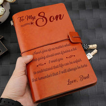 Load image into Gallery viewer, 2019 Dad To Son Never Give Up Engraved Leather Cover Message Notebook