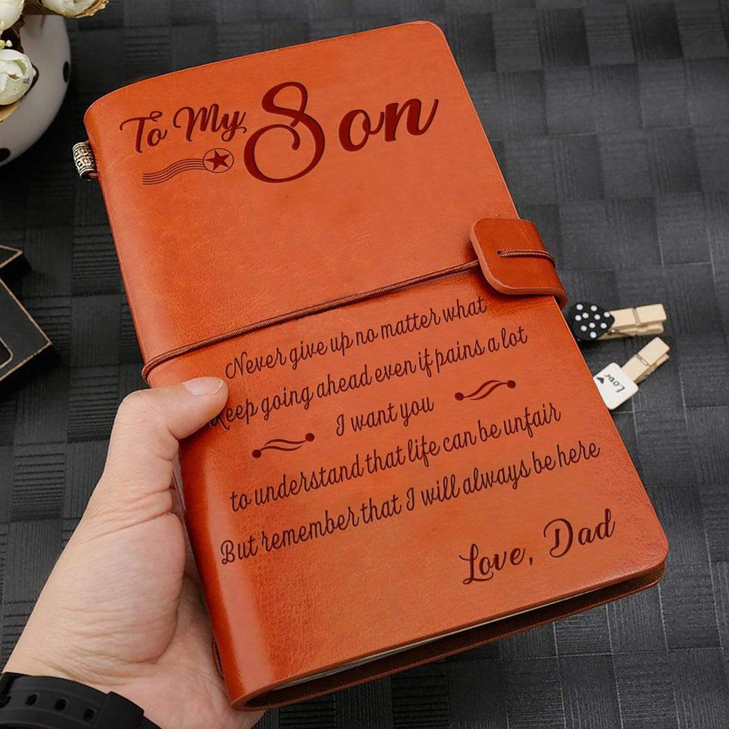 2019 Dad To Son Never Give Up Engraved Leather Cover Message Notebook