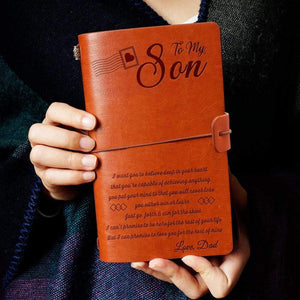 2019 Dad To Son Never Lose Engraved Leather Cover Message Notebook