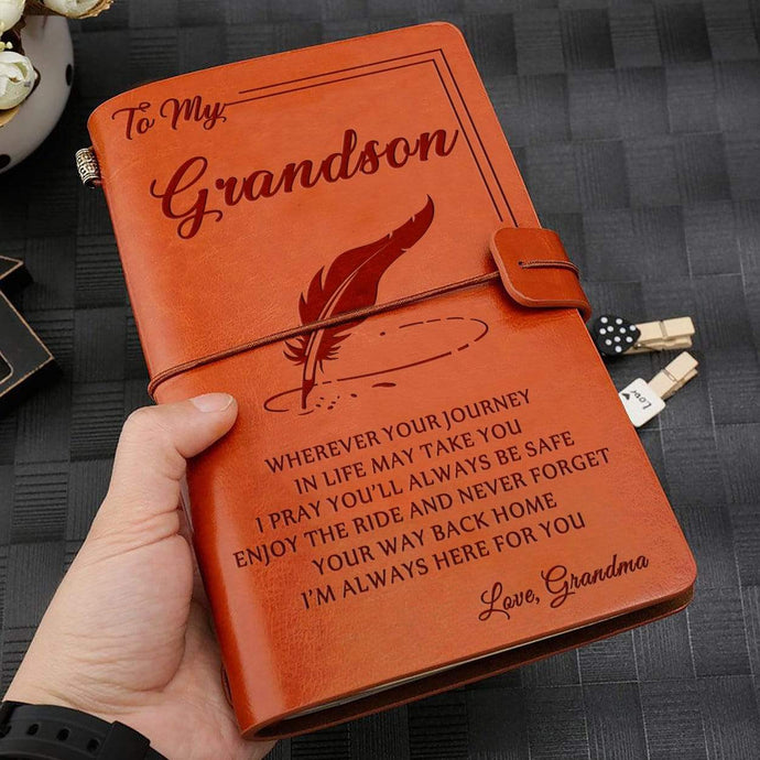 2019 Grandma To Grandson Always Here For You Engraved Leather Cover Message Notebook