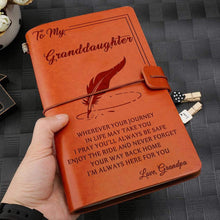 Load image into Gallery viewer, 2019 Grandpa To Granddaughter Always Here For You Engraved Leather Cover Message Notebook