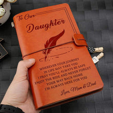Load image into Gallery viewer, 2019 Mom Dad To Daughter Always Here For You Engraved Leather Cover Message Notebook