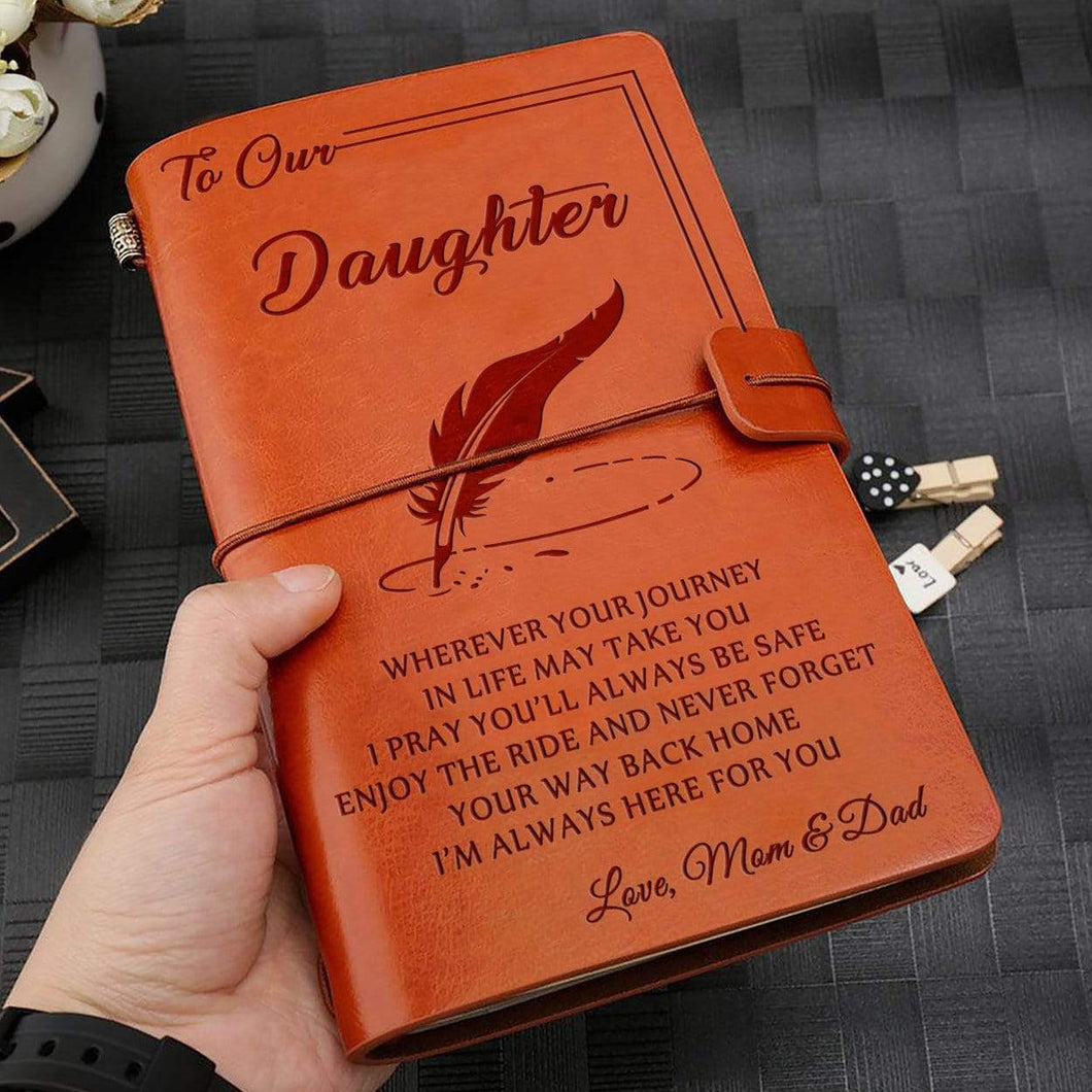 2019 Mom Dad To Daughter Always Here For You Engraved Leather Cover Message Notebook