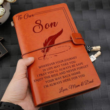 Load image into Gallery viewer, 2019 Mom Dad To Son Always Here For You Engraved Leather Cover Message Notebook