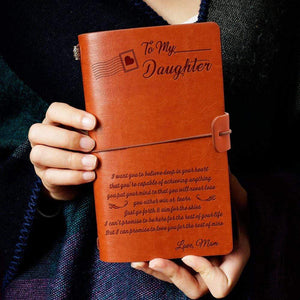 2019 Mom To Daughter Never Lose Engraved Leather Cover Message Notebook