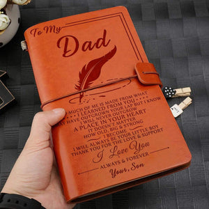 2019 Son To Dad I Love You Always And Forever Engraved Leather Cover Notebook