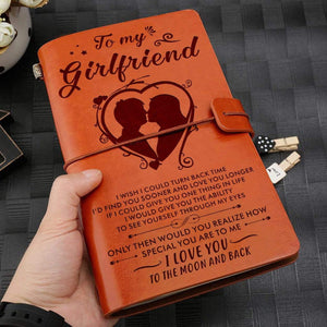 2019 To Girlfriend-Love You To The Moon And Back Engraved Leather Notebook