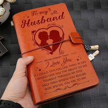 Load image into Gallery viewer, 2019 To Husband- How Special You Are To Me Engraved Leather Cover Message Notebook NB034