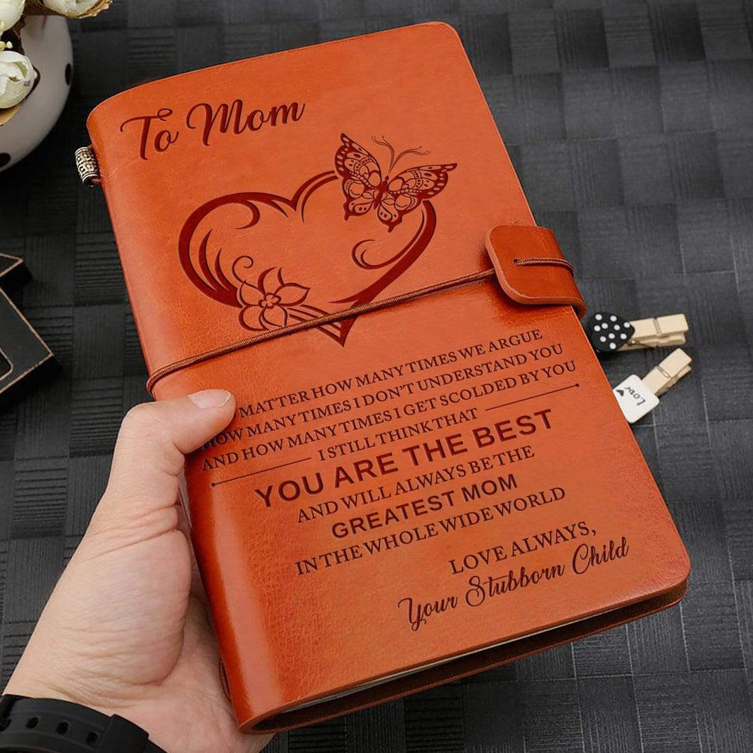 2019 To My Greatest Mom Engraved Leather Cover Message Notebook