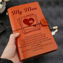 Load image into Gallery viewer, 2019 To My Man Missing Pieces Engraved Leather Cover Message Notebook