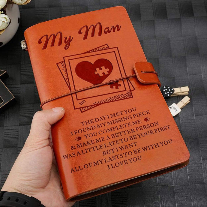 2019 To My Man Missing Pieces Engraved Leather Cover Message Notebook