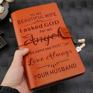 2019 To My Wife Beautiful Angel Engraved Leather Cover Message Notebook