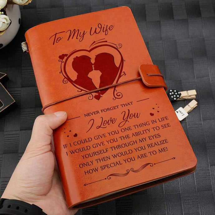 2019 To My Wife How Special You Are To Me Engraved Leather Cover Message Notebook