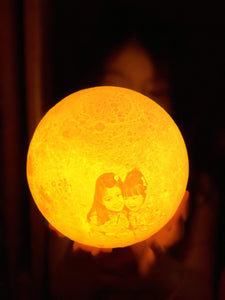 3D Printing 6 Inches Personalized Moon Lamp With Picture, Color - Dad to Son