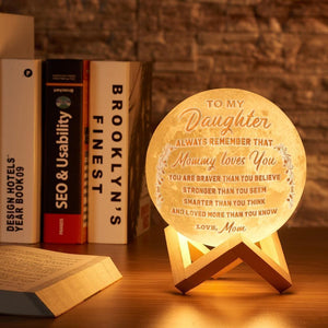 3D Printing 6 Inches Personalized Moon Lamp, Color - Mom to Daughter
