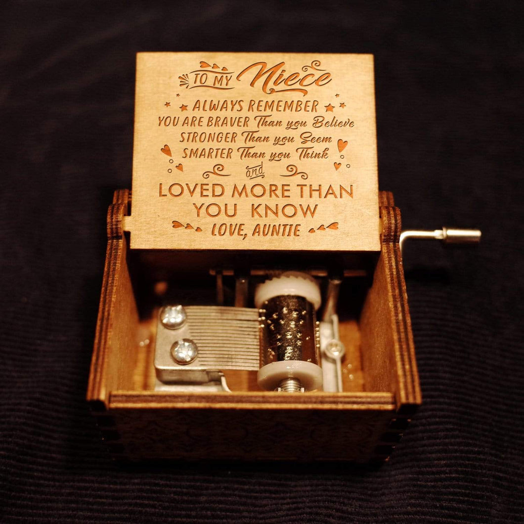 Auntie To Niece-Love You More Than You Know Engraved Wooden Music Box  MB020