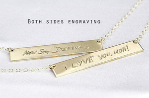 Custom Handwriting Necklace Signature Necklace GOLD - ONE SIDE ($27.30)