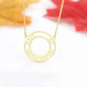 Custom Roman Numeral Necklace Gold Color