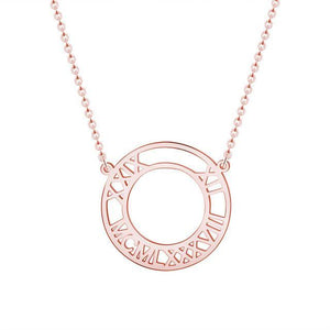 Custom Roman Numeral Necklace Rose Gold Color
