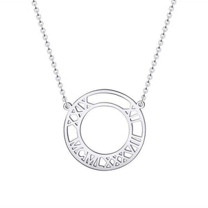 Custom Roman Numeral Necklace Platinum Color