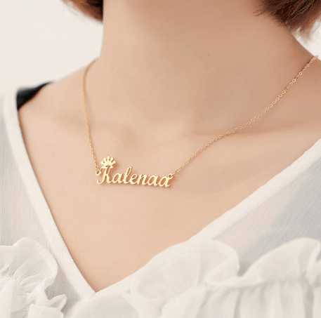Customized Cursive Crown Name Necklace Gold Adult 45