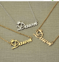 Load image into Gallery viewer, Customized Cursive Crown Name Necklace Platinum Silver 45cm