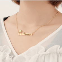 Load image into Gallery viewer, Customized Cursive Crown Name Necklace Platinum Silver Adult 45cm
