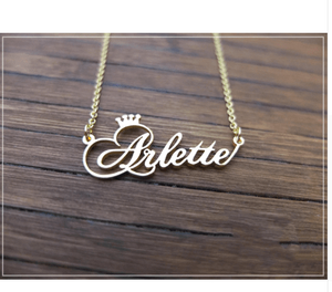Customized Cursive Crown Name Necklace Rose Gold Adults 45cm