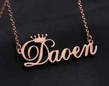 Load image into Gallery viewer, Customized Cursive Crown Name Necklace Rose Gold Adults 45cm