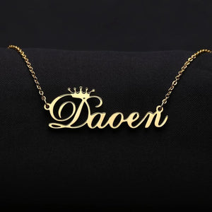 Customized Cursive Crown Stainless Name Necklace, Metal Color - Rose Gold Color