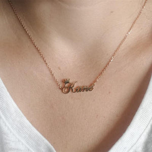 Customized Cursive Crown Stainless Name Necklace, Metal Color - Steel Color