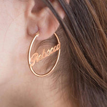 Load image into Gallery viewer, Customized Hoop Name Earrings Gold-color