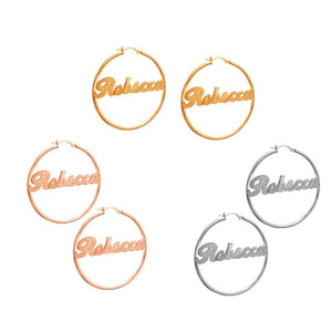 Customized Hoop Name Earrings Gold-color