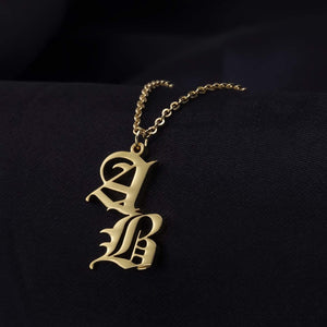 Customized Vintage Old English Double Letters Necklace For Women Gold