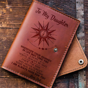 Dad To Daughter-Always Here For You Engraved Leather Passport Holder